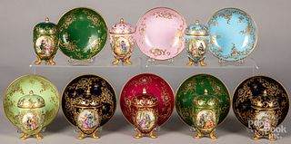 Eight Dresden porcelain pot de cremes.