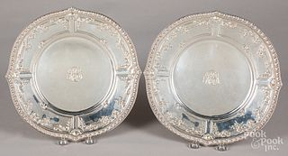 Pair of sterling silver plates