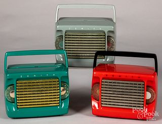Three Zenith model M403 plastic portable radios