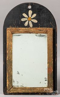 Small painted pine mirror, late 19th c.