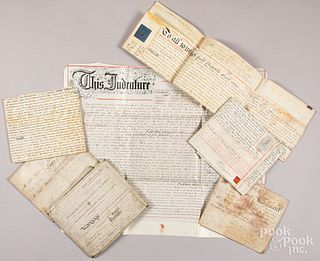 Seven English vellum indentures, 19th c.