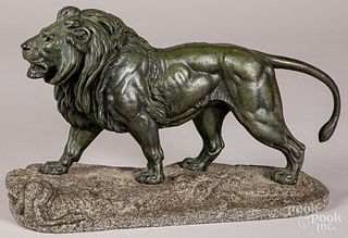 Paul Delabrierre patinated bronze lion