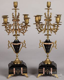 Pair of slate and gilt metal candelabra