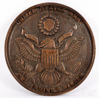 Carved mahogany plaque of the United States seal