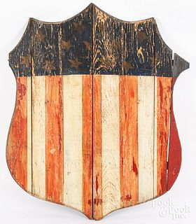 Painted pine American Shield plaque