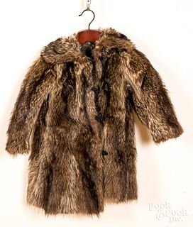 Early hand sewn child's racoon fur coat.