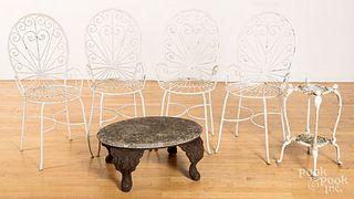 Four iron garden chairs, etc.