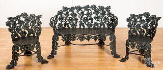 Victorian three-piece cast iron garden suite
