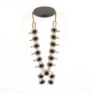 Native American Navajo Onyx Squash Blossom Pendant Necklace