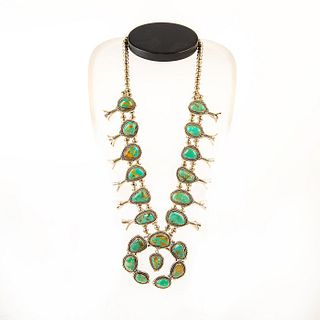 Native American Royston Turquoise Squash Blossom Necklace
