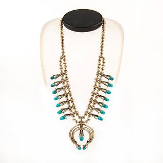 Native American Navajo Turquoise Squash Blossom Necklace