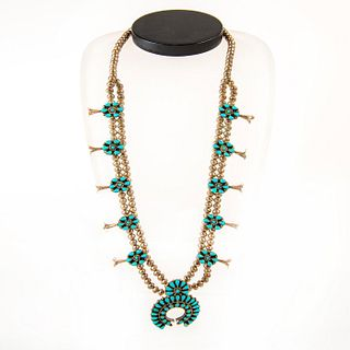 Native American Zuni Peti Point Squash Blossom Necklace
