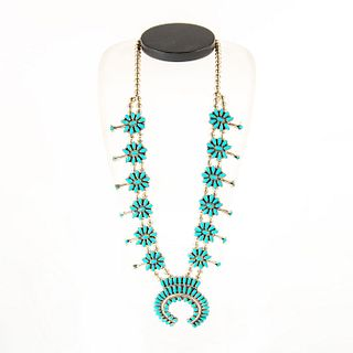 Native American Zuni Petit Point Squash Blossom Necklace