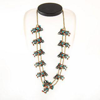 Native American Zuni Rainbow Man Squash Blossom Necklace