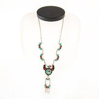 Native American Zuni Channel Inlay Sunface Thunderbird Necklace