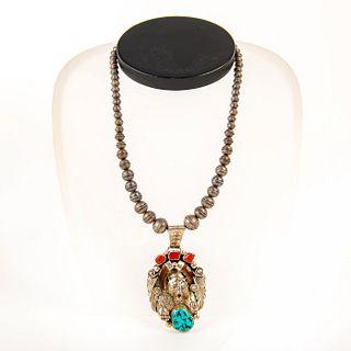 Native American Navajo Bear Claw Pendant Pearl Necklace