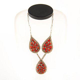 Native American Navajo Coral Pendant Necklace