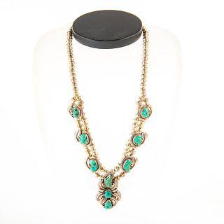 Native American Navajo Kingman Turquoise Necklace