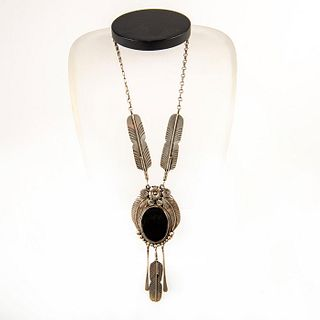 Native American Navajo Onyx Sterling Silver Necklace