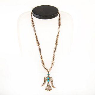 Native American Navajo Peyote Bird Pendant Pearl Necklace