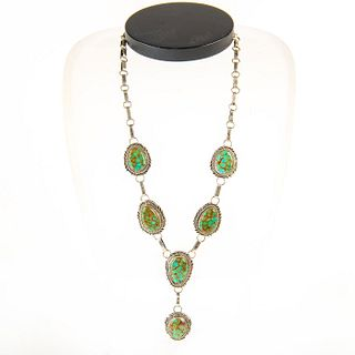 Native American Navajo Six Stone Nevada Turquoise Necklace
