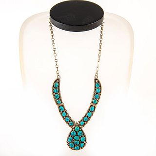 Native American Navajo Turquoise, Silver Necklace
