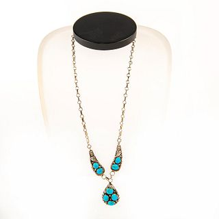 Native American Navajo Turquoise, Sterling Silver Necklace