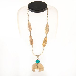 Native American Hopi Bear Fetish Pendant Necklace