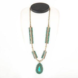 Native American Zuni Petit Point Kingsman Turquoise Necklace