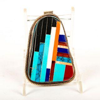 Native American Zuni Multistone Channel Inlay Large Pendant