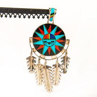 Native American Zuni Sunface , Sterling Silver Pendant
