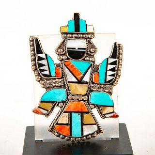 Native American Zuni Sterling Silver Knifewing Mosaic Pin