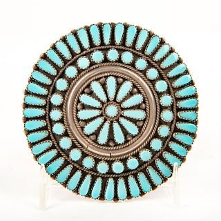 Native American Zuni Turquoise, Silver Cluster Pin