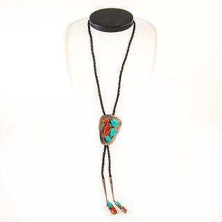 Native American Zuni Turquoise, Coral Bolo Tie
