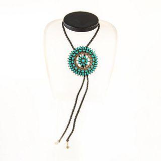 Native American Zuni Turquoise Bolo Tie