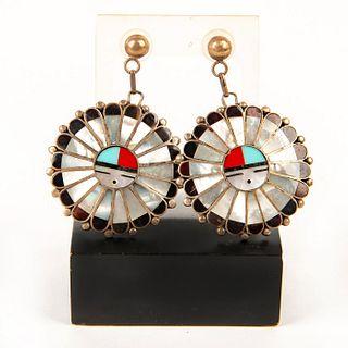Pair, Native American Zuni Sunface Sterling Silver Earrings