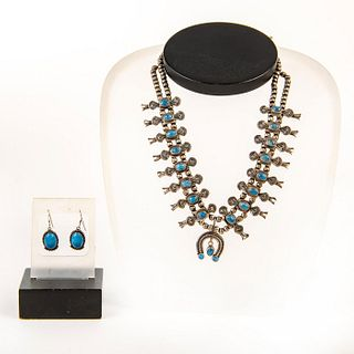 Native American Navajo Squash Blossom Necklace + Earrings