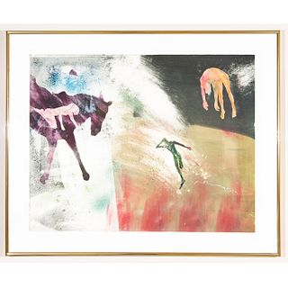 Framed Mary Frank Monoprint, Female Figure On Horse
