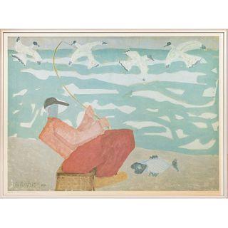Framed Milton Avery Art Museum Poster, Red Fisherman 1950