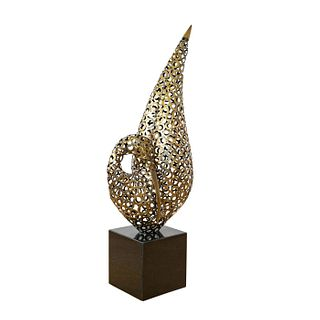 Metal Bird Sculpture On Base