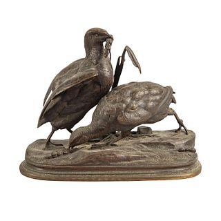 J. Moigniez Bronze Sculpture Birds