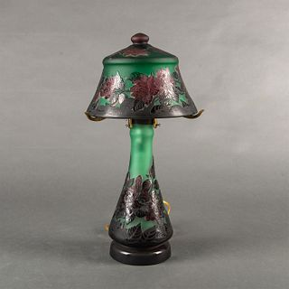 In The Style Of Galle Cameo Glass Floral Table Lamp