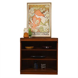 Petite Mid Century Modern Walnut Bookcase