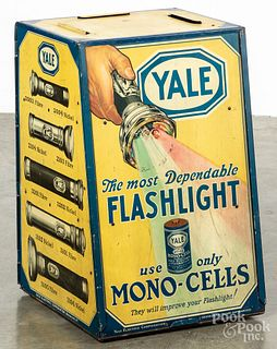 Yale Flashlight tin lithograph store display cabinet