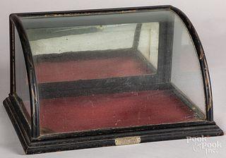 Diminutive convex counter top oak display case