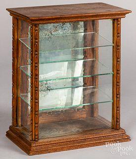 Small oak countertop showcase, late 19th c.