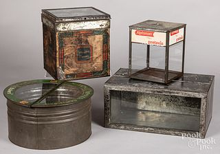 Four country store tin advertising containers