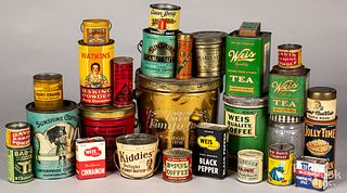 Collection of advertising tins