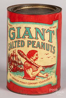 Giant Salted Peanuts advertising tin, ten pounds