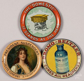 Three tin lithograph advertising tip trays